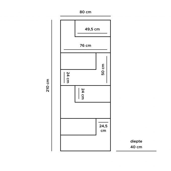 Vakkenkast Huub Hout 210 x 80 cm  - Roomdivider